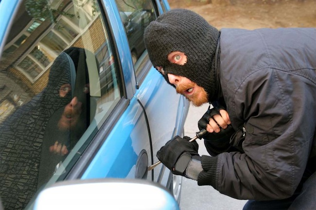 A car thief at work.