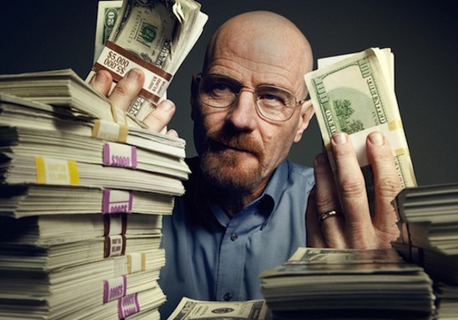 Walter White counts his money