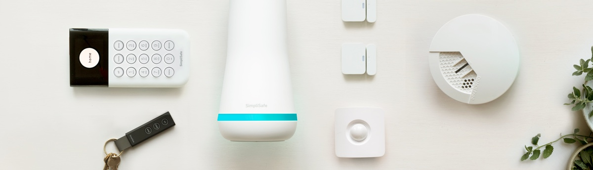 SimpliSafe system containing key fob, keypad, base station, motion sensor, two entry sensors, and a smoke detector