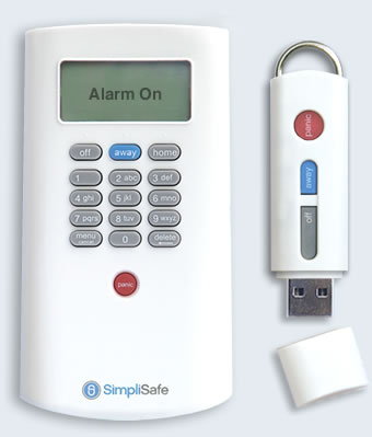 SimpliSafe wireless keypad and keychain remote
