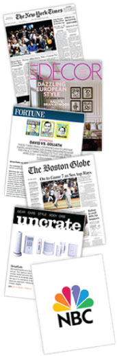 The New York Times, Elle Decor, Fortune, The Boston Globe, Uncrate, and NBC