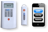 SimpliSafe wirelss Keypad, Wireless Keychain, and mobile app