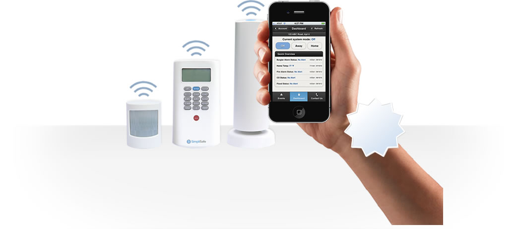 wireless motion sensor, base station, keypad, free mobile app and keychain remote